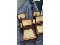 4 antique oak caned chairs