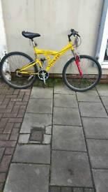 "Cheap Yellow Universal Stinger Dual Suspension Mountain Bike, 26"" Wheels, 15 Speed, 19"" Frame"