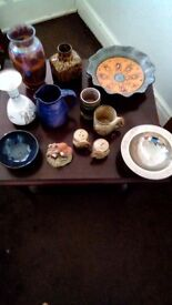 Assorted vases ,collectables ,devon pottery ,silver etched bowl bargain