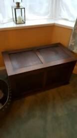 Vintage dark wood blanket box