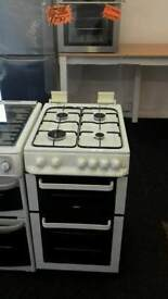 ZANUSSI WHITE 50CM WIDE DOUBLE OVEN FULL GAS COOKER WITH GLASS LID