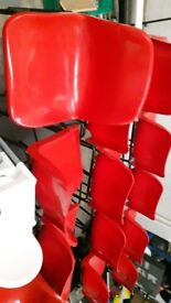 15 red high chairs