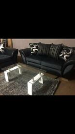 Ex-display** black and grey 3+2 fabric suite -- ONLY £480