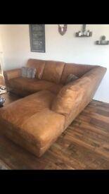 Barker & Stonehouse 'Houston' ranch leather corner sofa & stool