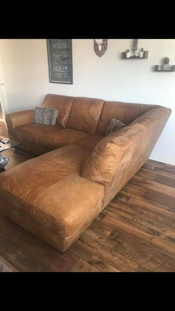 Barker & Stonehouse \'Houston\' ranch leather corner sofa & stool | in  Marton-in-Cleveland, North Yorkshire | Gumtree