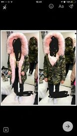Selling hot winter camouflage jacket with light pink hood price ONO