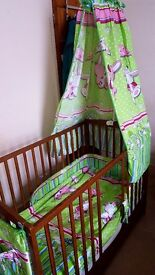 Baby cot with a drawer + mattress + bedding set.