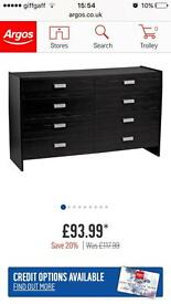 Capella 4+4 Bedroom Furniture Drawers Chest Black