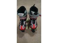 Kids Adjustable Roller Boots skates - Adjust from size 1-3 EU 33-36 - Red/Silver