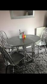 Silver painted wood table and three chairs