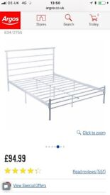 New, Double bed in metal (white)