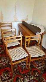 Wooden dining table and 4 chaira