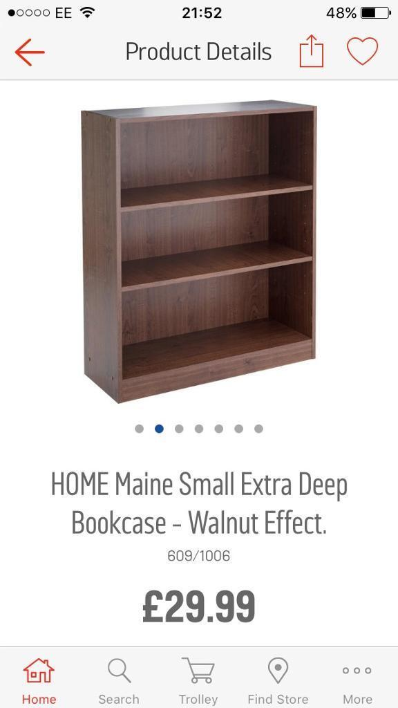 Bookcases as newin SwanseaGumtree - 2 walnut effect matching bookcases, 2 different sizes, only bought a couple of months ago from Argos, as new. Need gone asap. £30 for both Ono
