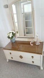 1950's Oak dressing table with bevelled mirror and original glass top