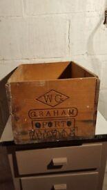 OLD VINTAGE GRAHAM'S WOODEN 1960s BOX for PORT
