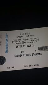 2 OLLY MURS GOLDEN CIRCLE TICKETS - SSE ARENA