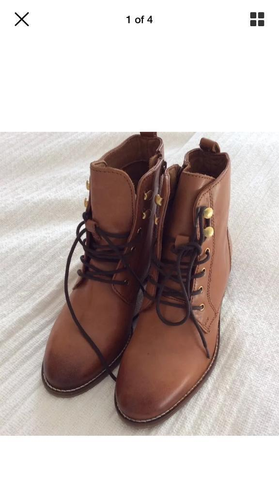 Dune tan flat boots size 4 Quincey