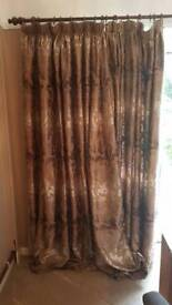 Luxurious fully line brown jacquard curtains