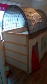 6 months old ikea bunk bed,like new ,with dethachable house canopy abd ikea matress,