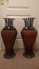 Matching pair of decorative basket and metal vases.