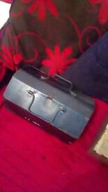 Blue vintage tool box with inlet tray 14 inch wide 8 inch depth 8 inch height