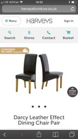 Brand new brown faux leather dining chairs