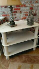 Glass tv stand, lamp and candle holder