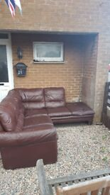 Brown leather corner sofa £80 pm for details
