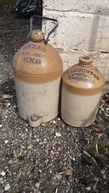 Antique stonewear flagons with trade names, one dates to 1449 from Scarborough and Redcar