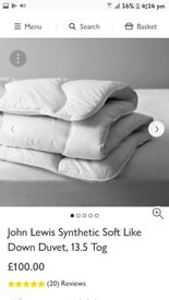 Kingsize John Lewis Duvet 13.5 tog, used by me for just 3 nights, too warm for me