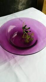Hand blown glass magenta bowl