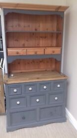 Dresser painted grey very heavy unit comes in two parts collection only