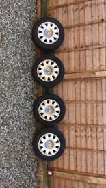 """4x 15"""" Wheels with Dunlop Sport Blurereponse tyres."""