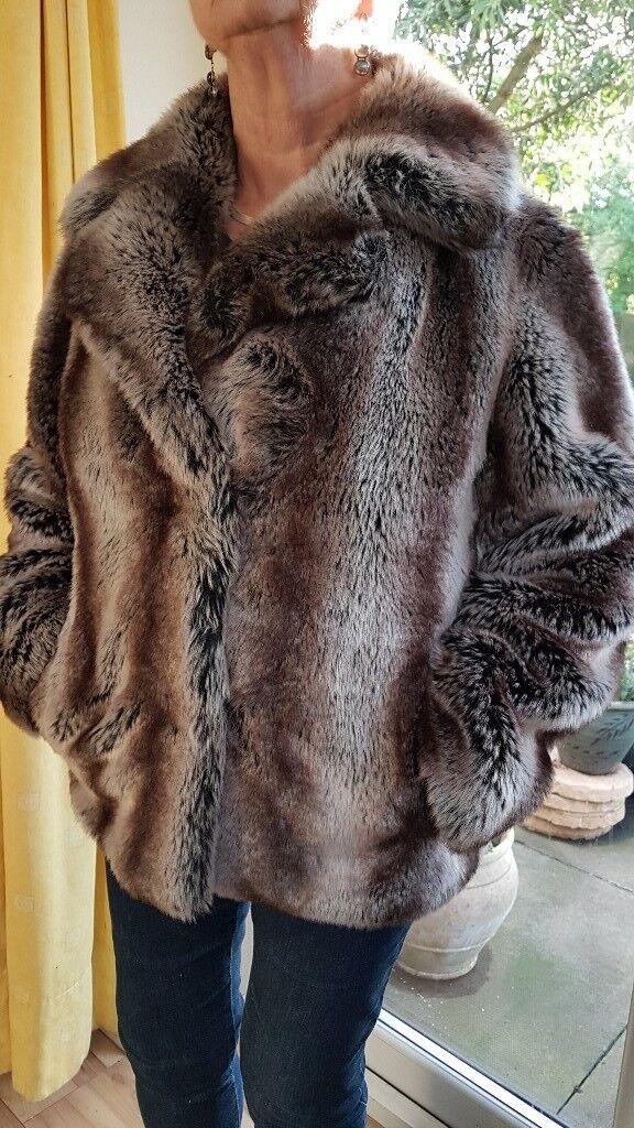 Fake fur jacket, ladies size 12