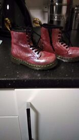 Pink sparkley dr martens girls boots