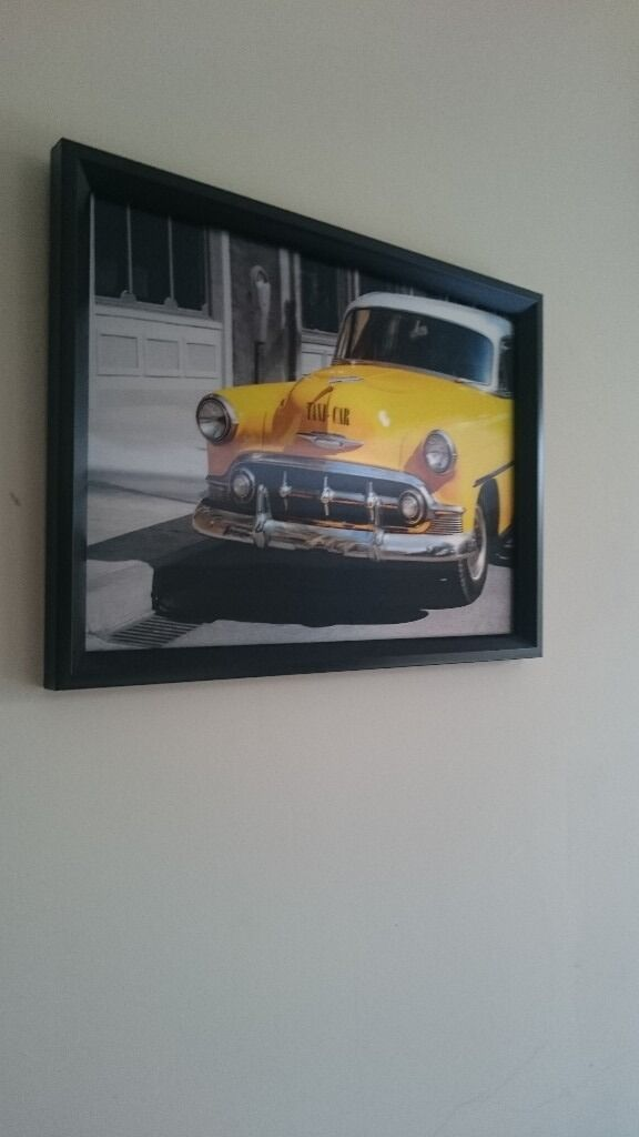 BLACK FRAMED NEW YORK TAXI - 3D MOVING PICTURE