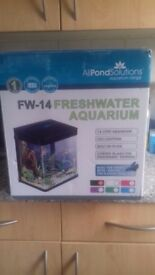 All pond solutions fish tank 14 litres led lights filter pump