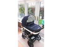 For sale..Navy blue & white Emmaljung a Pram & buggy. In very good condition £300.00