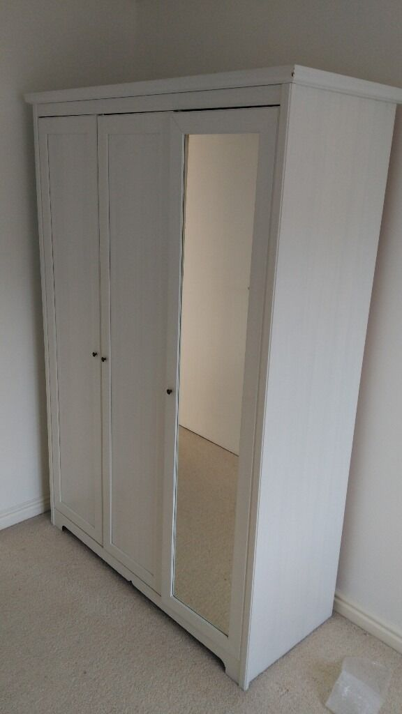great condition ikea aspelund 3 door wardrobe with mirror. Black Bedroom Furniture Sets. Home Design Ideas