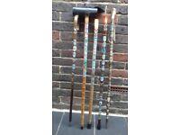Walking sticks with metal badges