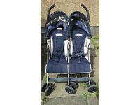 Maclaren double buggy / twin stroller, umbrella fold design, navy and cream.