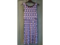 Blooming marvellous blue aztec print layered stretchy maternity dress size 8