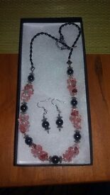 Hand made cherry quartz and hematite necklace and earrings