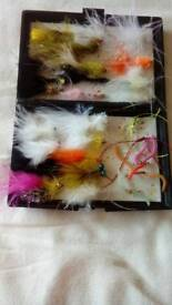 Fly box with 30 new flies