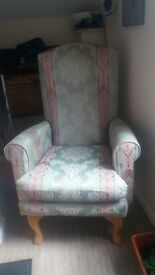 high back arm chair with queen anne legs