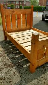 Antique pine solid double bed