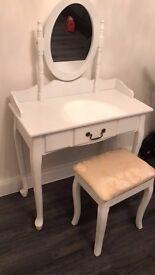 White Stylish Dressing Table with Stool