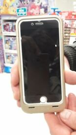 I PHONE 6S 16GB WITH BLACK GLASS PROTECTOR AND FREE RECHARGEABLE CASE