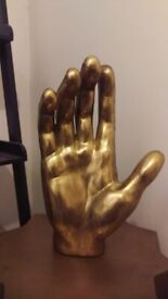 LARGE GOLD DECORATIVE HAND ORNAMENT FROM ROCKETTSTGEORGE
