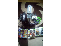 xbox 360 with kinect, controller,games, all leads 60gb